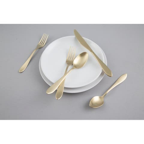 Cambridge Silversmiths Delia Champagne Satin 20 Piece Flatware Set, Service for Four - 20 Piece