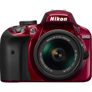 Nikon D3400 DX-Format 24.2MP DSLR Camera with 18-55mm Lens (Red)