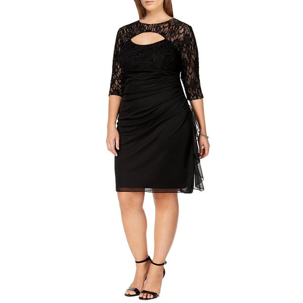 Shop Betsy Adam Plus Size Lace Cutout 34 Sleeve Cocktail Dress