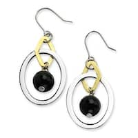 Chisel Stainless Steel Gold Plated & Polished Circles with Black Smoky Quartz Bead Dangle Earrings