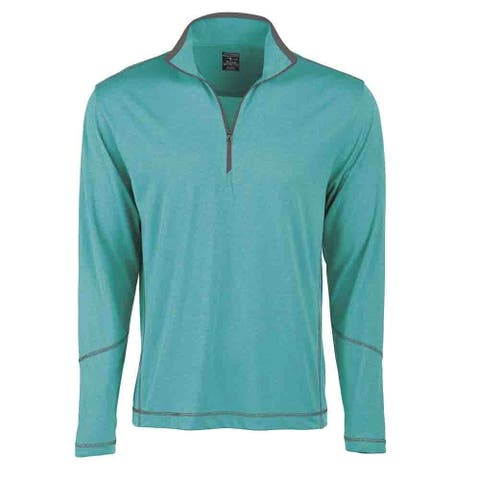 Page & Tuttle Mens Coverstitch Heather Mock Neck Athletic Outerwear Pullover