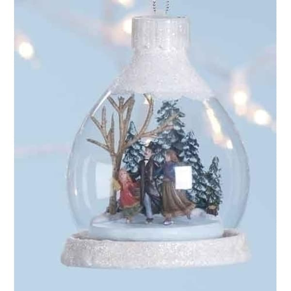 """4"""" Amusements Lighted LED Victorian Ice Skaters Christmas Ornaments"""