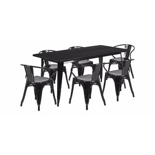 """Offex 31.5"""" x 63"""" Rectangular Black Metal Indoor Table Set with 6 Arm Chairs [OF-ET-CT005-6-70-BK-GG]"""