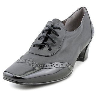 Auditions First Class Women W Square Toe Patent Leather Black Oxford