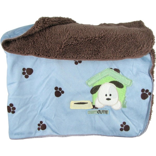 Snugly Baby Blue Sateen & Fleece Baby Blanket w/ Puppy