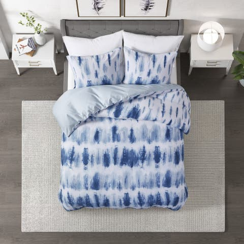 Tie Dye Blue Cotton Printed Duvet Cover Set by CosmoLiving