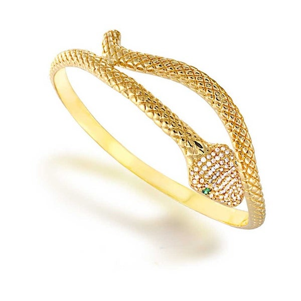 a09f8aaf23a Egyptian Serpent Style Wrap Snake Green Eye CZ Bypass Bangle Bracelet For  Women 14K Gold Plated