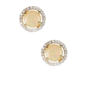 14k gold and diamond and ethiopian opal stud earrings, genuine 14k gold and opal stud halo earrings