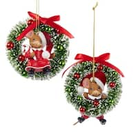 "Club Pack of 12 Mouseville Girl and Boy on Christmas Wreath Ornaments 4"" - RED"