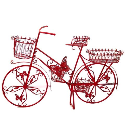 """Large Iron Bicycle Plant Stand with Butterflies in Red - 56"""" L x 17"""" W x 37.5"""" H"""