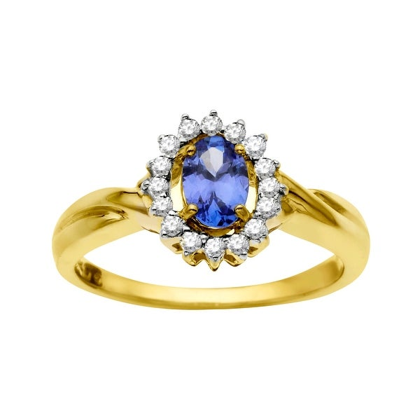 1/2 ct Tanzanite Ring in 14K Gold with Diamonds - Purple