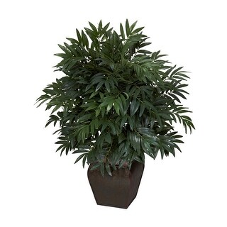 Nearly Natural Double Bamboo Palm with Decorative Planter - Silk Plant Green
