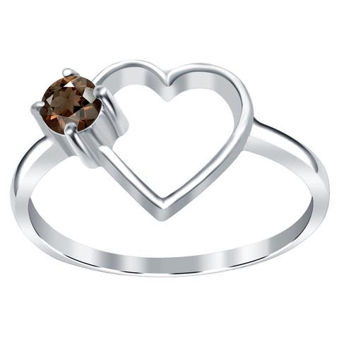 Garnet, Citrine, Sapphire, Smoky Quartz Sterling Silver Round Promise Ring by Orchid Jewelry