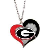 Georgia Bulldogs Swirl Heart Necklace NCAA Charm Gift