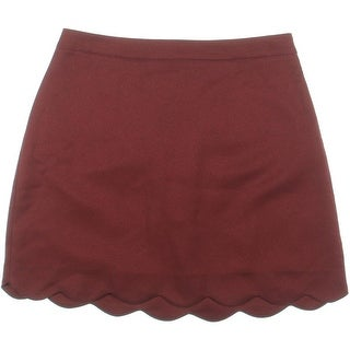 Lush Womens Scalloped Hem Textured Mini Skirt - M