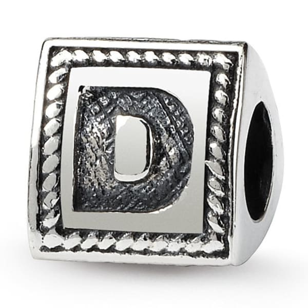 Sterling Silver Reflections Letter D Triangle Block Bead (4mm Diameter Hole)