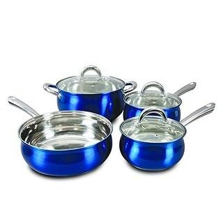 Oster 7-Piece Verdone Cookware Set Stainless Steel Metallic Blue Exterior