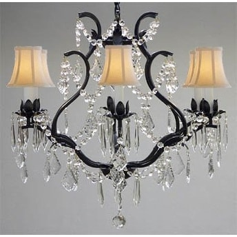 Swarovski Elements Crystal Trimmed Chandelier Lighting Wrought Iron Crystal Chandelier Lighting With White Sh