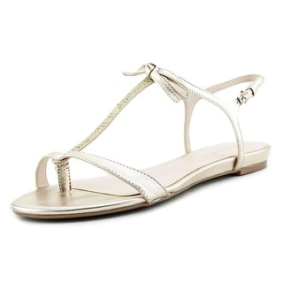 Nine West Odele Women Open-Toe Leather Gold Slingback Sandal