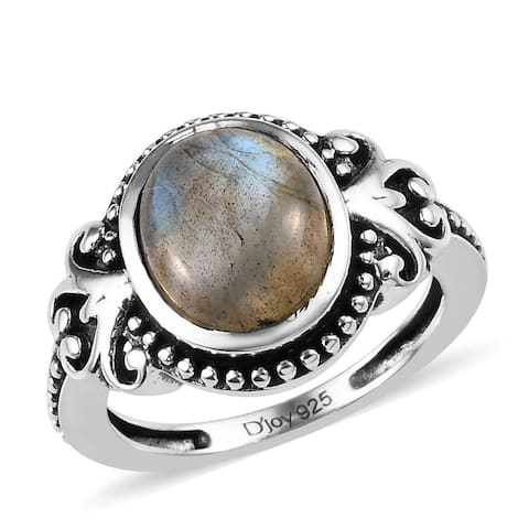 Shop LC 925 Sterling Silver Labradorite Solitaire Ring Ct 2.9