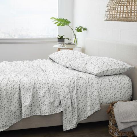 Becky Cameron Premium Bontanical 4 Piece Flannel Bed Sheet Set