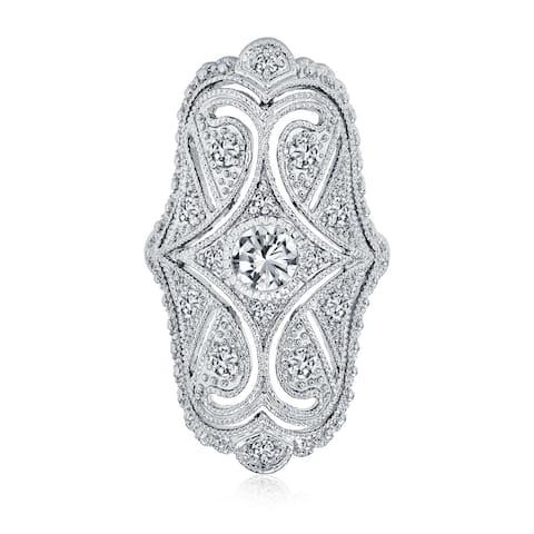 Art Deco Filigree CZ Fashion Statement Wide Armor Full Finger Ring