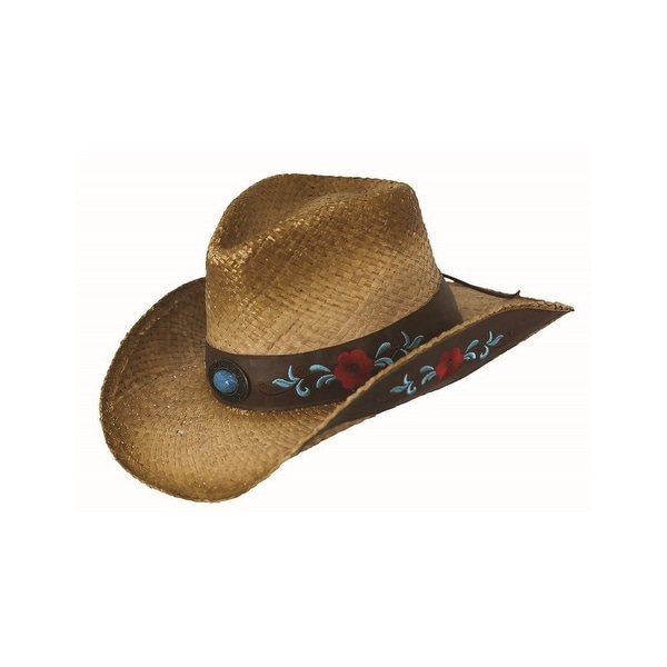 aab61a20 Outback Trading Hat Womens Harmony Bay Floral Raffia Straw Tea