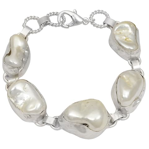 Pearl Brass Fancy Fashion Bracelet by Fashionablez