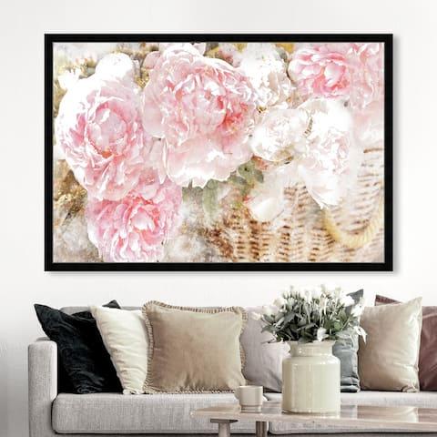 Oliver Gal 'Basket O' Roses' Floral and Botanical Framed Wall Art Prints Florals - Pink, Green