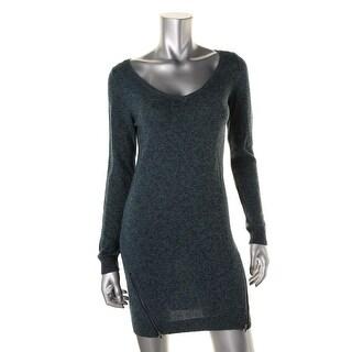 BP. Womens Juniors Marled Double Zipper Sweaterdress - S