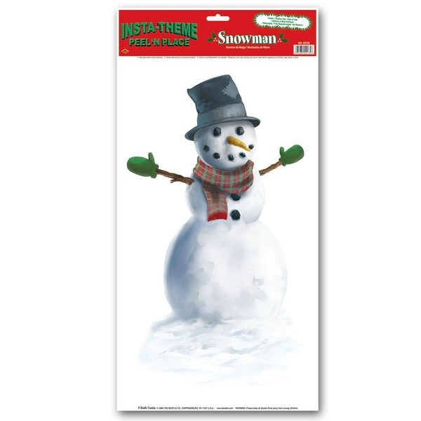 Pack of 12 Snowman Peel 'N Place Christmas Decorations 24""