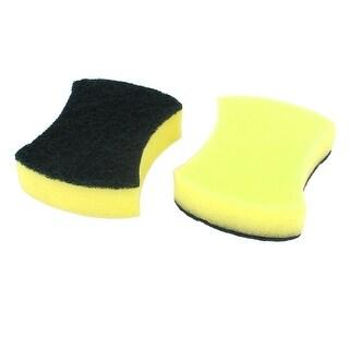 Restaurant Sponge Kitchenware Bowl Dish Wash Cleaning Pad Green Yellow 2 Pcs