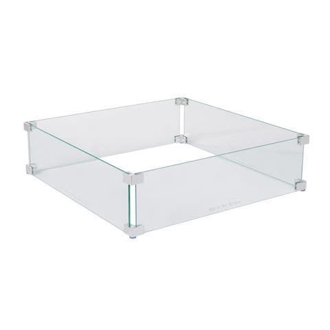 Tempered Glass Wind Guard For Square Fire Pits