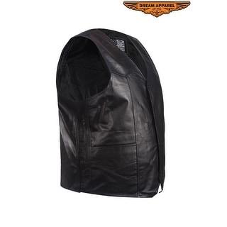 Mens Plain Leather Vest Size 44