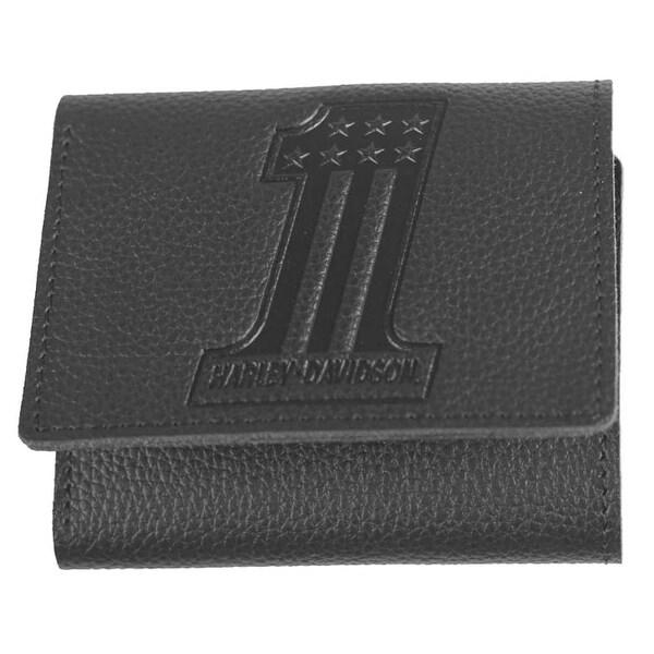 "Harley-Davidson Men's Embossed #1 Logo Leather Tri-Fold Wallet XML3845-BLACK - 4"" x 3.5"""