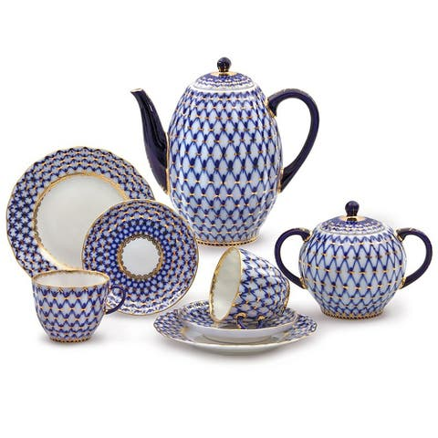 Imperial Porcelain Factory Cobalt Netting 20 pc. Coffee Set For 6
