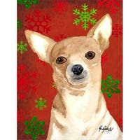 Red Snowflake Chihuahua Christmas Flag Garden Size