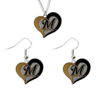 Milwaukee Brewers Swirl Heart Necklace And Dangle Earring Set Mlb Charm Gift
