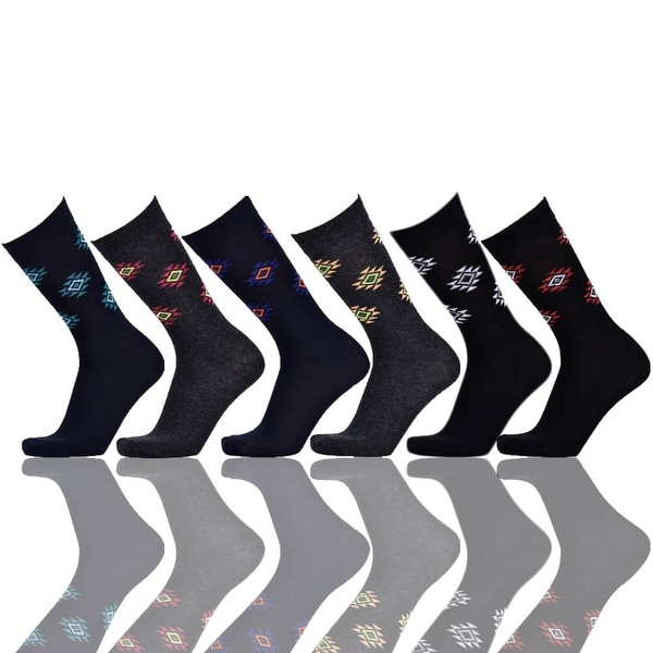 Magnus Diamond Men's Crew Patterned Colorful Design Dress Socks (Size 10-13) 6 Assorted Pairs
