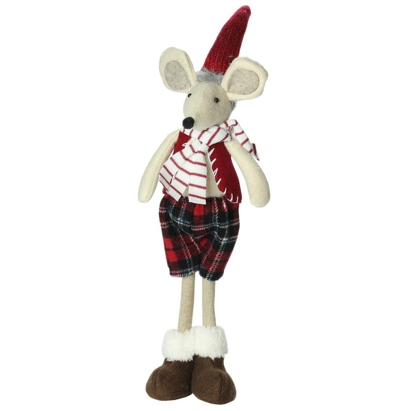 """17"""" Plush Red Plaid Standing Christmas Boy Mouse Decoration - WHITE"""