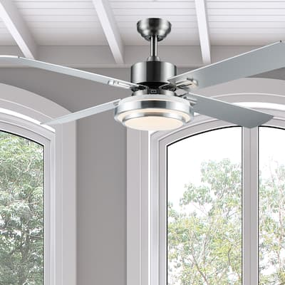 """Slate River of Goods 51-inch LED Integrated Ceiling Fan With Light - 51"""" x 51"""" x 12.25""""/16.25"""""""