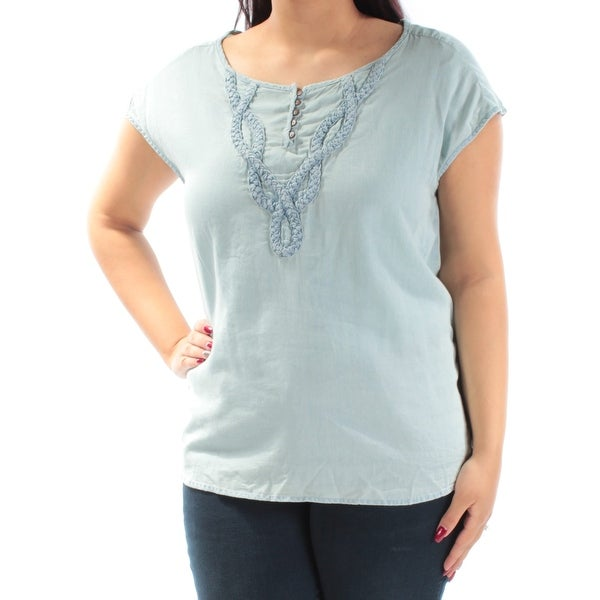 7c3526645ac Shop VINTAGE AMERICA BLUES Womens Light Blue Embellished Cap Sleeve Jewel  Neck Top Size: L - On Sale - Free Shipping On Orders Over $45 - Overstock -  ...