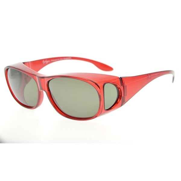 d8ac2b0df1bf Eyekepper Retro Style Polarized Fitover Sunglasses for Prescription Glasses  (Red Frame G15 Lenses)