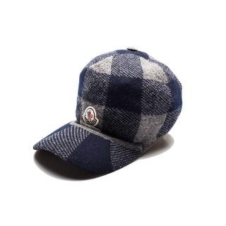 Moncler Men's Wool Plaid Hat Grey