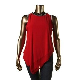 MSK Women Womens Plus Embellished Asymmetric Casual Top