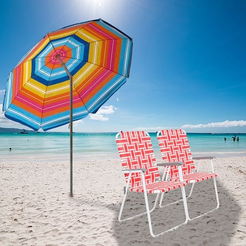 Outdoor Patio 2pcs Steel Tube PP Webbing Bearing Folding Beach Chair