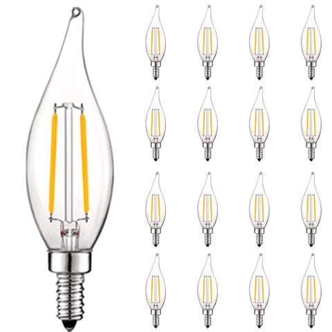 Luxrite 4W Vintage Candelabra LED Bulbs Dimmable, 400 Lumens, 40W Equivalent, Clear Glass, E12 Base (16 Pack)