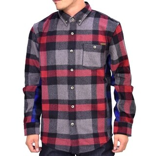 Reason NEW Red Mens Size Medium M Button Down Wool Flannel Shirt