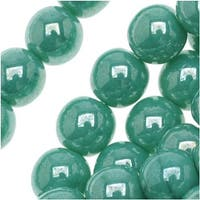 Czech Glass Druk Round Beads 6mm Green Turquoise Luster (50)