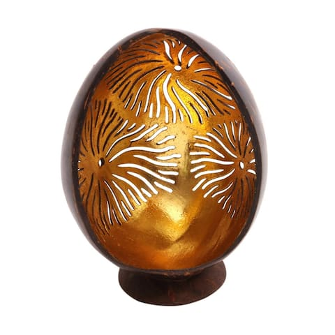 """Handmade Golden Fireworks Coconut Shell Catchall (Indonesia) - 5.5"""" H x 3.9"""" W x 3.1"""" D"""
